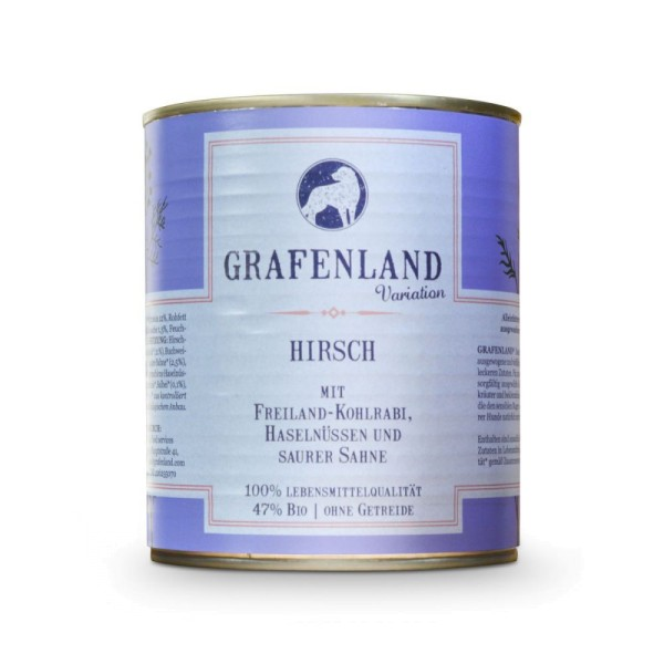 Grafenland Variation Hirsch mit Freiland-Kohlrabi, Haselnüssen und saurer Sahne