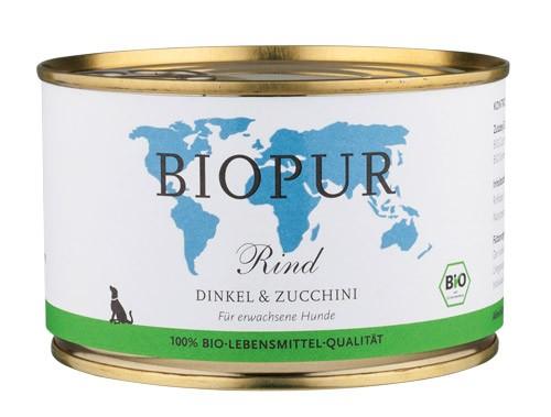 BIOPUR Rind mit Dinkel & Zucchini für Hunde 400g Dose