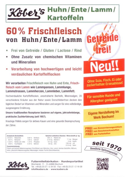 Köbers Huhn / Ente / Lamm / Kartoffel, getreidefrei